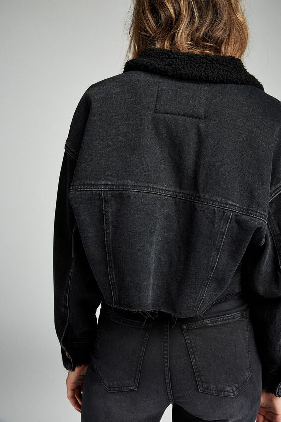 Chopped Sherpa Denim Jacket, ACID BLACK