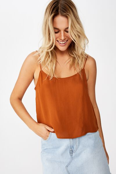 Astrid Cropped Scoop Neck Cami, GLAZED GINGER