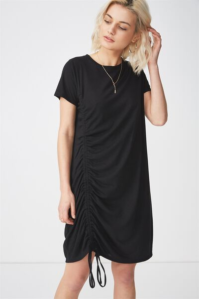 Tina Tshirt Dress 2, ROUCHED BLACK