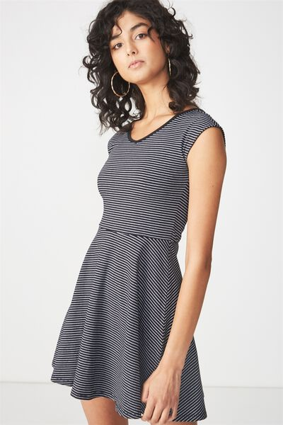 Cindy Fit And Flare Dress, SALMA BLACK/WHITE STRIPE HORIZONTAL