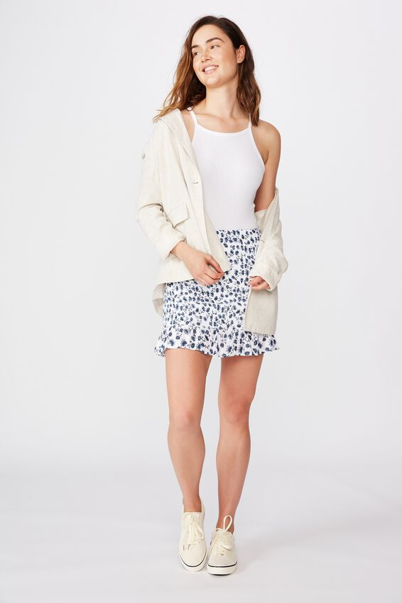 Ruby Shirred Mini Skirt, RACHEL FLORAL WHITE
