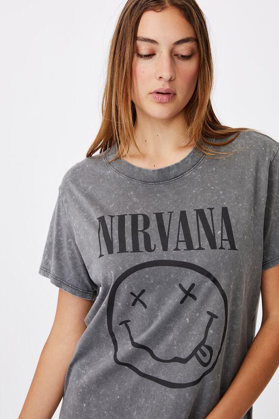Classic Nirvana Smiley T Shirt, LCN LN NIRVANA SMILEY WASHED/SLATE GREY