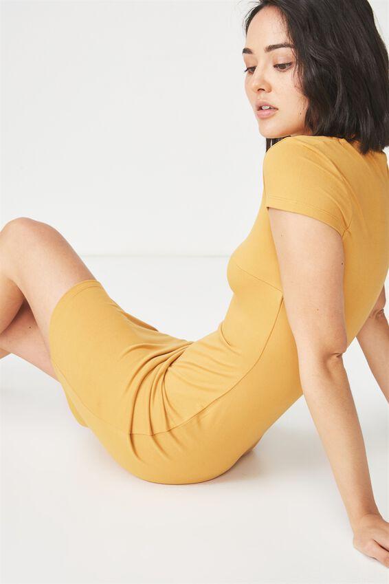 Arianna Mock Neck Dress, SPRUCE YELLOW
