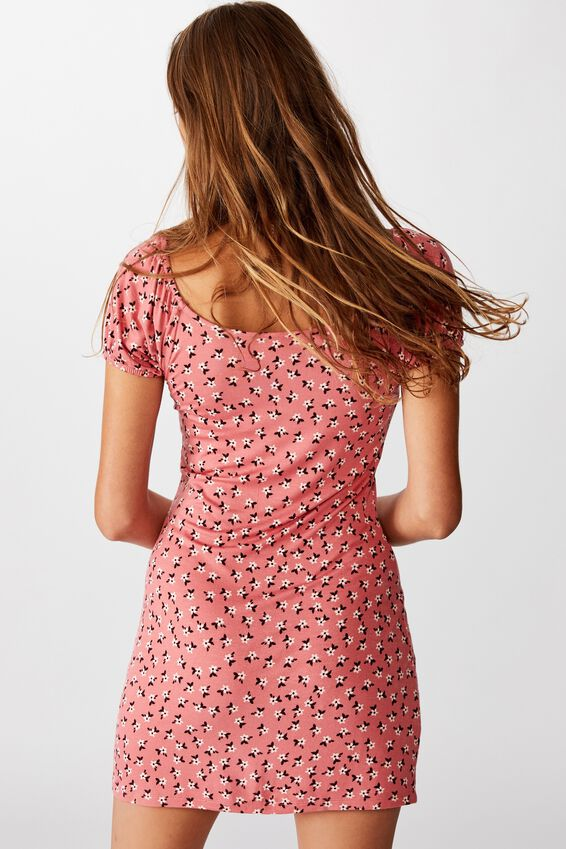 Izabel Prairie Mini Dress, AIDAN DITSY FADED ROSE