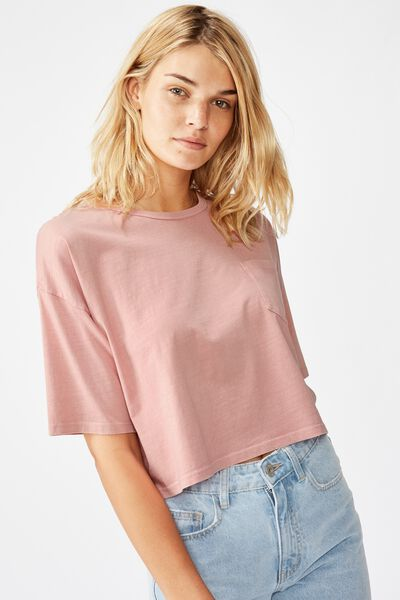 The One Slouch Pocket Tee, WASHED ROSE MUSK