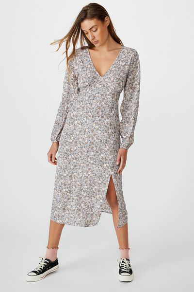 Woven Heather Long Sleeve Midi Dress, LIZ MULTI FLORAL WHITE