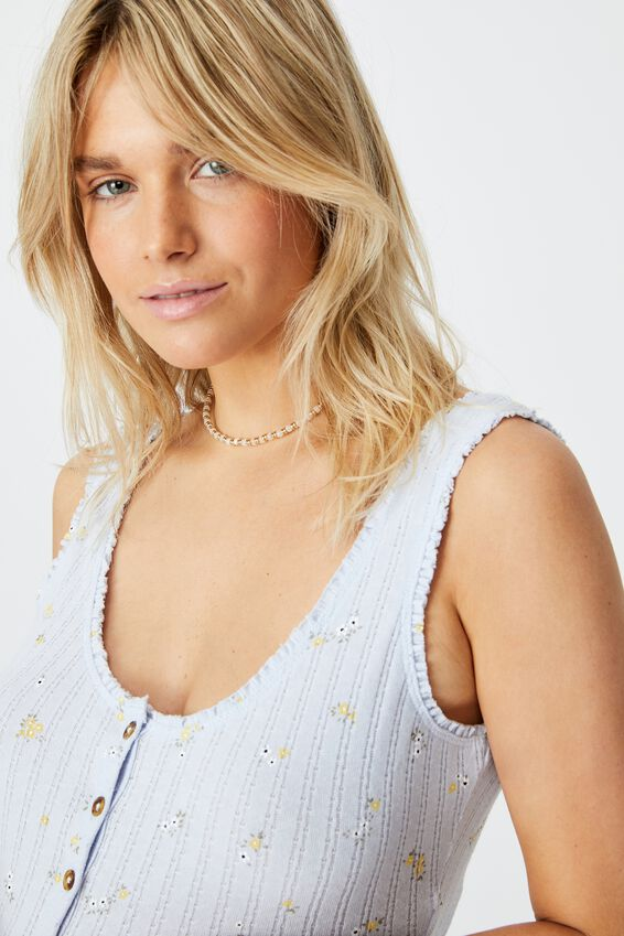 The Harvie Ruffle Tank, WILLOW DITSY COOL BLUE