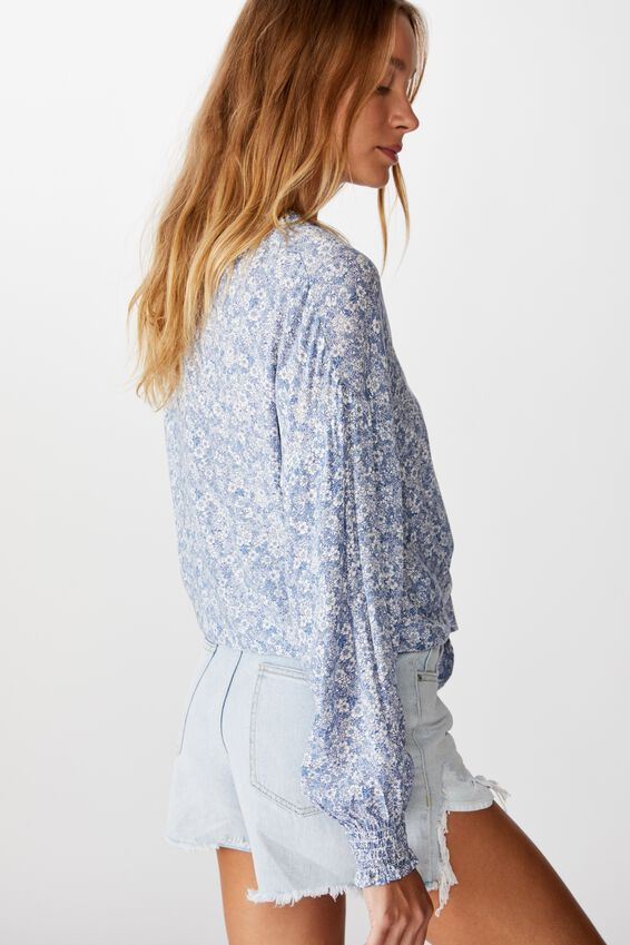 Tie Front Lw Long Sleeve Blouse, STEPHANIE FLORAL COUNTRY BLUE