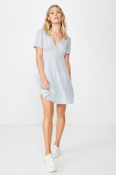 Woven Dotti Deep V Puff Sleeve Mini Dress, JESSICA FLORAL PAISLEY SKYWAY