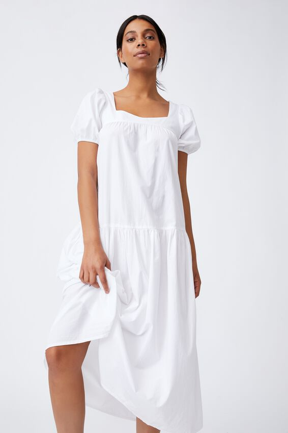 Woven Serena Tie Back Babydoll Maxi Dress, WHITE