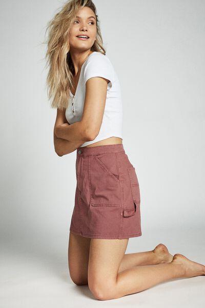Kasha Utility Mini Skirt, WASHED PINK
