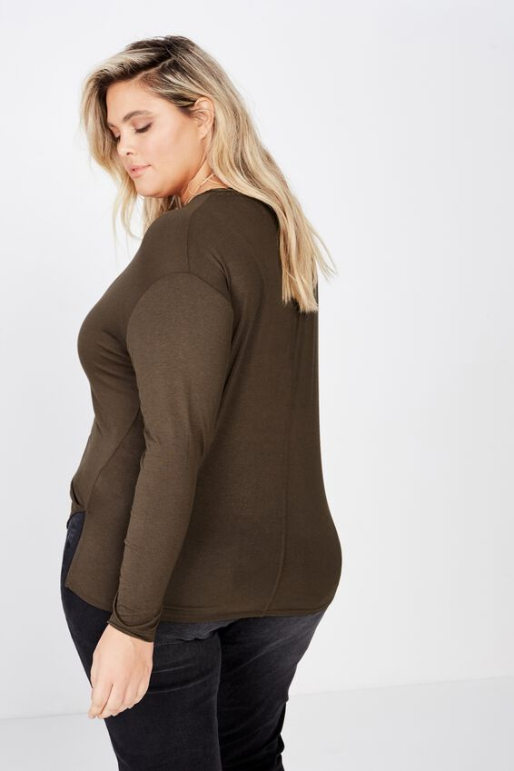 Curve Ruched Front Long Sleeve, SLATE BLACK