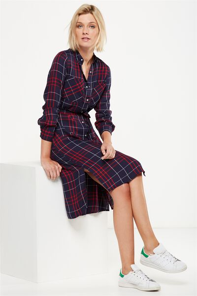 Woven Miley Check Button Midi Shirt Dress, DIANA WOVEN CHECK PEACOAT