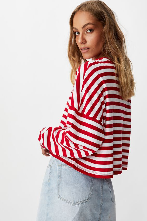 Tbar Brianna Graphic Long Sleeve, CNY FORTUNE CAT/CHILLI RED/WHITE STRIPE