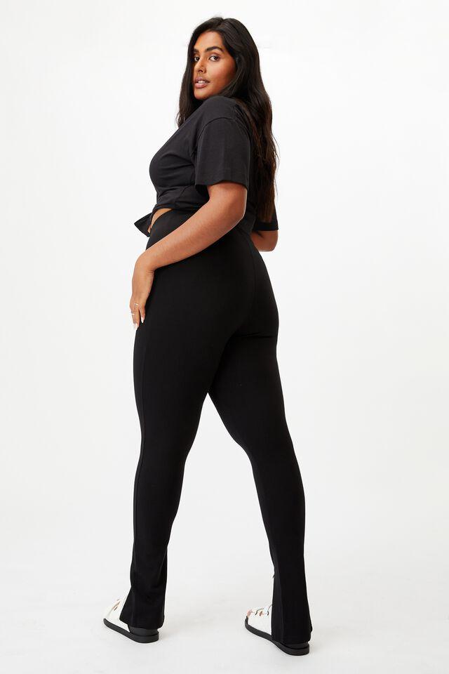 Curve Zip Front Ponte Legging, BLACK
