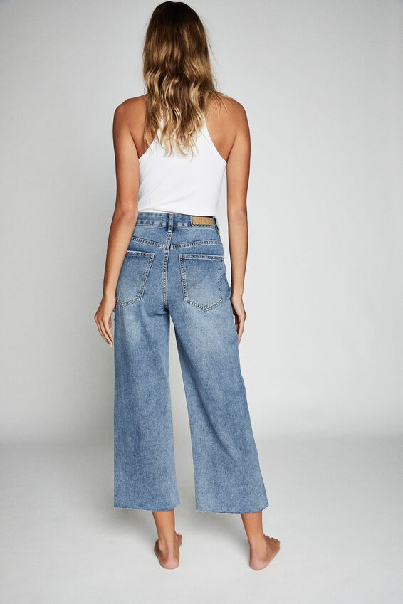 Wide Leg Cropped Jean, CALI BLUE
