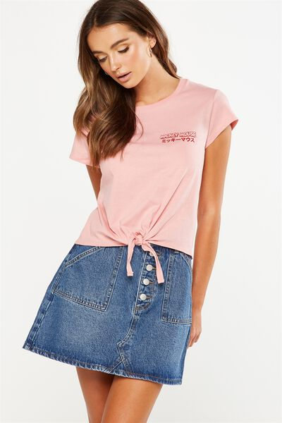 Tbar Tie Front Tee, LCN MICKEY MOUSE KIDDING ME/PINK BLOSSOM