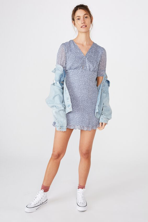 Woven Sandra 3/4 Mini Dress, INGRID DITSY FLINT STONE