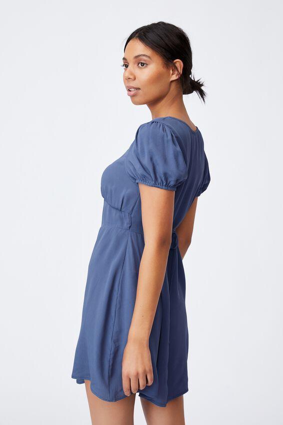 Woven Essential Tie Back Mini Tea Dress, COASTAL BLUE