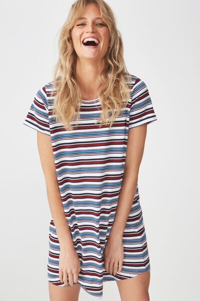 Tina Tshirt Dress 2, ALINA STRIPE CABERNET