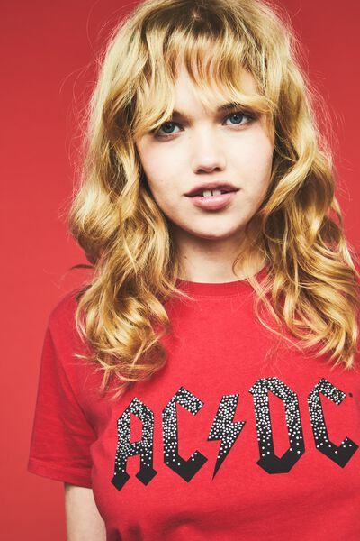 Premium Graphic Tee, LCN ACDC STUDS/JESTER RED