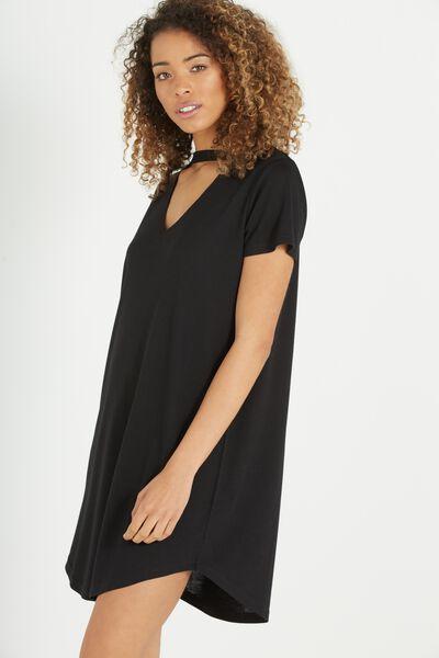Anika Choker Tshirt Dress, BLACK