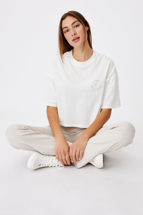 Chopped Boyfriend Tee, SMILE MORE AND BE HAPPY/VINTAGE WHITE