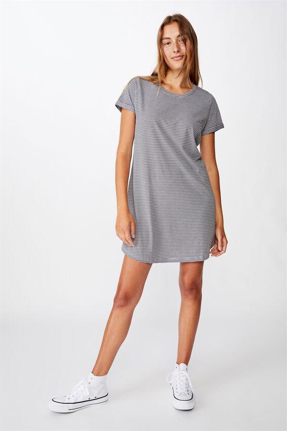 Tina Tshirt Dress 2, MINI MOLLY STRIPE RAVEN WHITE