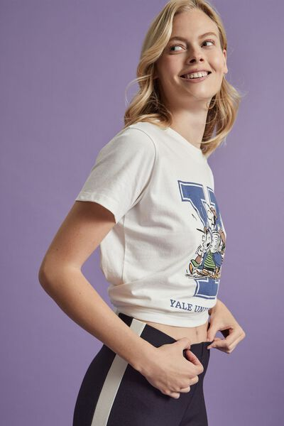 Classic Pop Culture T Shirt, LCN YAP PEANUTS YALE SPORTS/VINTAGE WHITE
