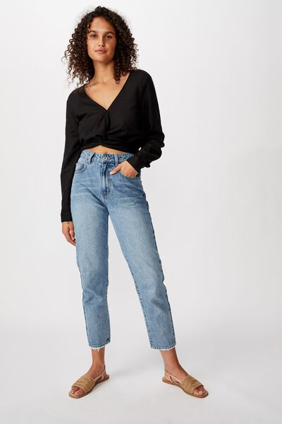Harry Twist Front L/S Top, BLACK