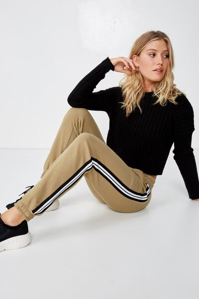 87fea6d84742 Adele Cuff Trackpant, LIGHT OLIVE WHITE/BLACK SIDE TAPE. Cotton On Women