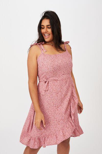 Curve Woven Kaela Mini Dress, MICHELLE DITSY BLUSH