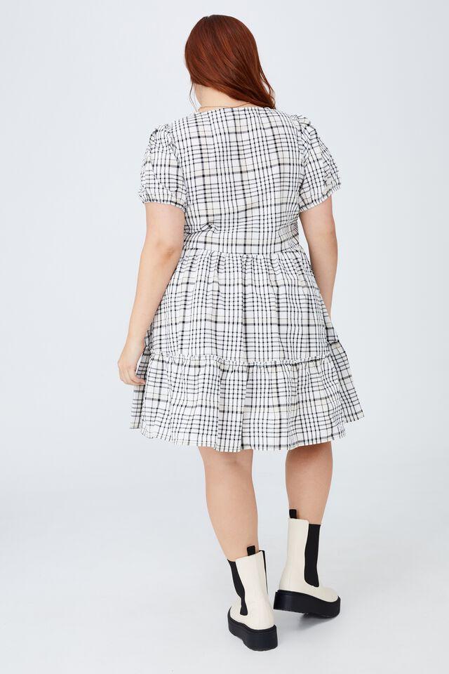 Curve Woven Tessa Babydoll Mini Dress, STEPH CHECK BLACK