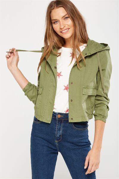 Cropped Weekender Jacket, KHAKI