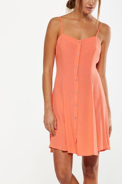 Woven Krissy Dress, BUTTON THROUGH EMBERGLOW