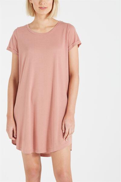 Tina Tshirt Dress 2, WASHED PINK HAZE