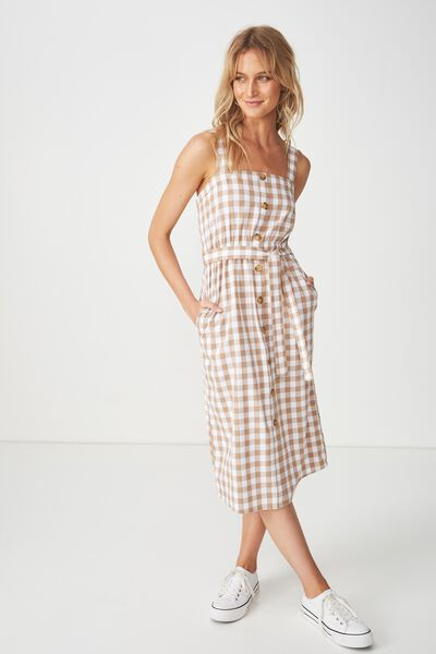 Woven Lyric Button Through Midi Dress, DARIA GINGHAM LATTE