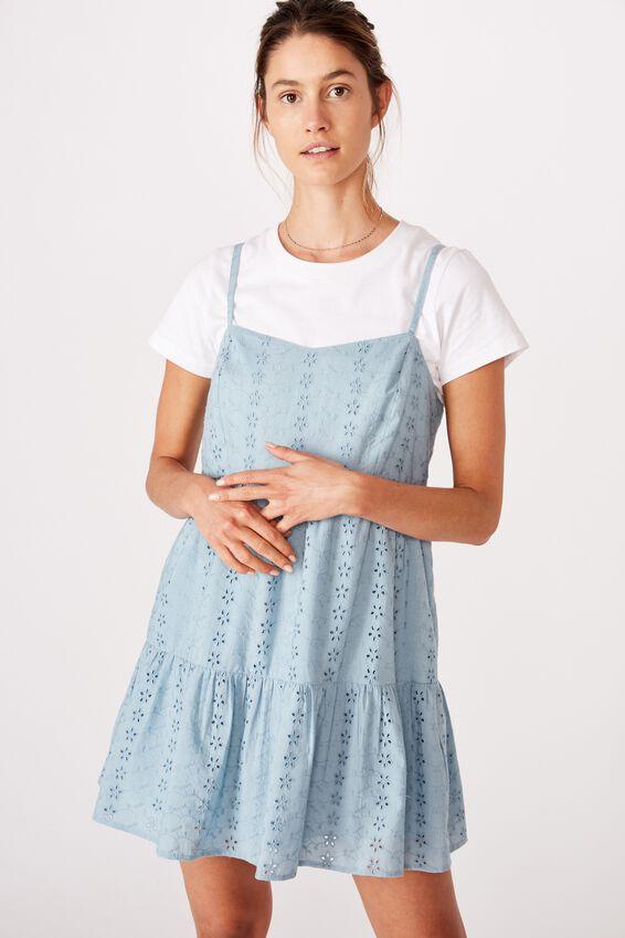 Woven Betty Tiered Mini Dress, CHAMBRAY BLUE