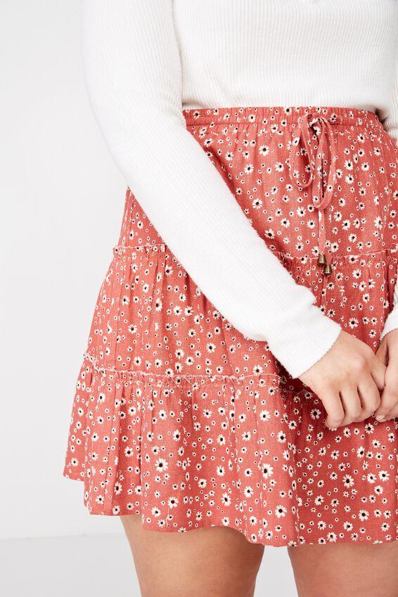 Curve Woven Chloe Mini Skirt, EMMA DAISY MINERAL RED