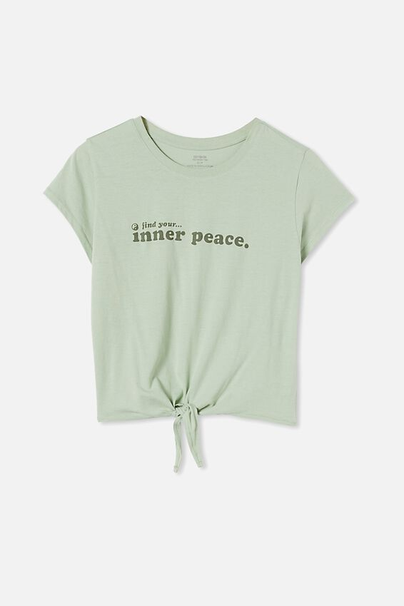 Tie Front Graphic Tee, INNER PEACE/LUSH GREEN