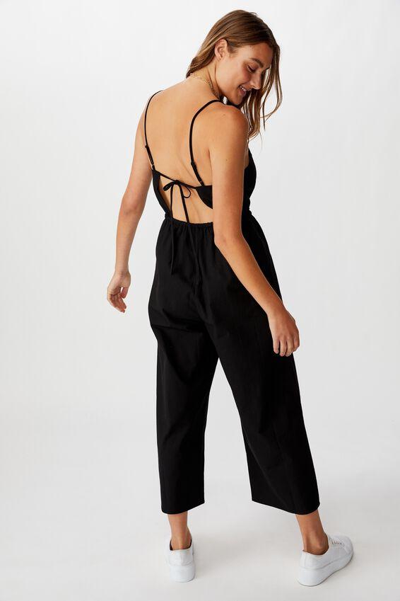 Woven Amanda Pinafore Jumpsuit, BLACK