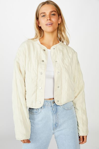 Cropped Quilted Bomber, MOONBEAM