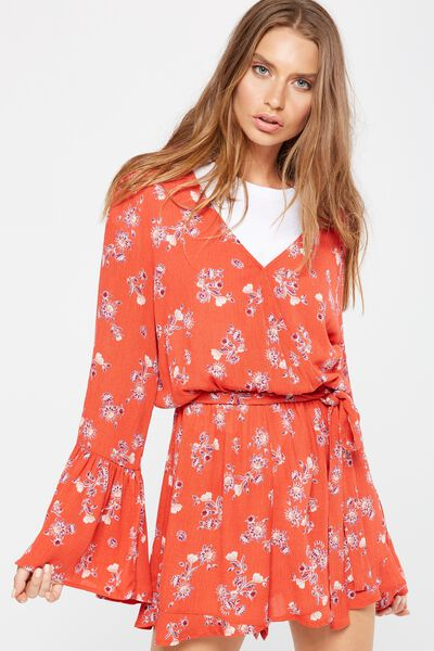 Woven Hanna Bell Sleeve Playsuit, NEVADA SUNSET AURORA RED