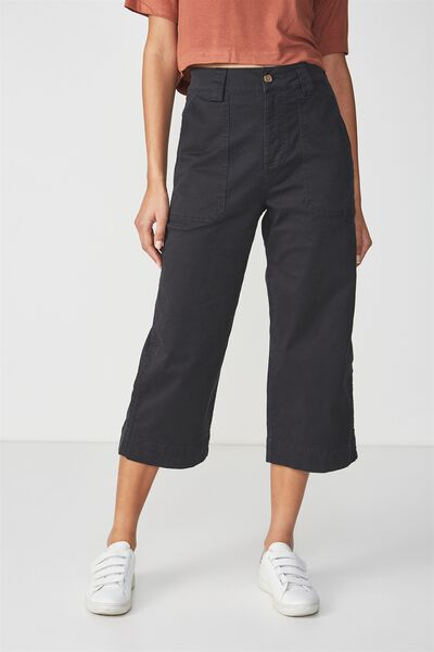 Wide Leg Chop Pant 2, BLACK