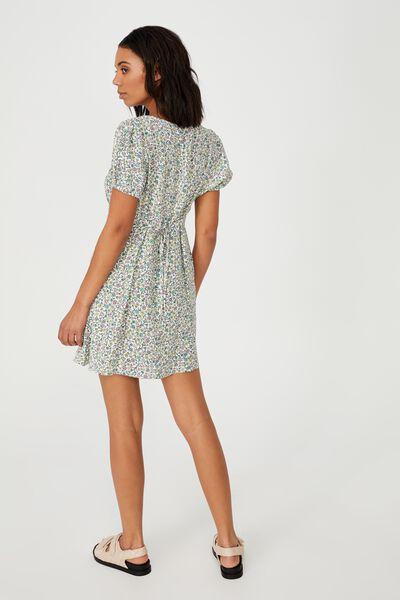 Woven Essential Tie Back Mini Tea Dress, MISHAY DITSY SPRING MINT