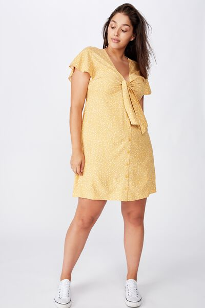Curve Woven Miranda Tie Front Mini Dress, ELOISE DITSY BRIGHT GOLD