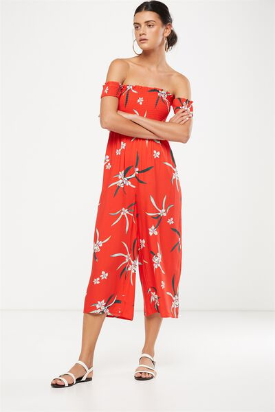 Woven Mazie Off The Shoulder Shirred Jumpsuit, TROPICAL IRIS FLAME SCARLET