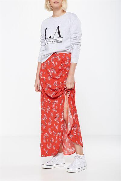 Woven Elora Rouched Maxi Skirt, NEVADA SUNSET AURORA RED
