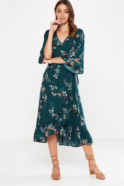 Woven Caitlin Wrap Kimono Sleeve Maxi Dress, PENNY ORIENTAL PINE