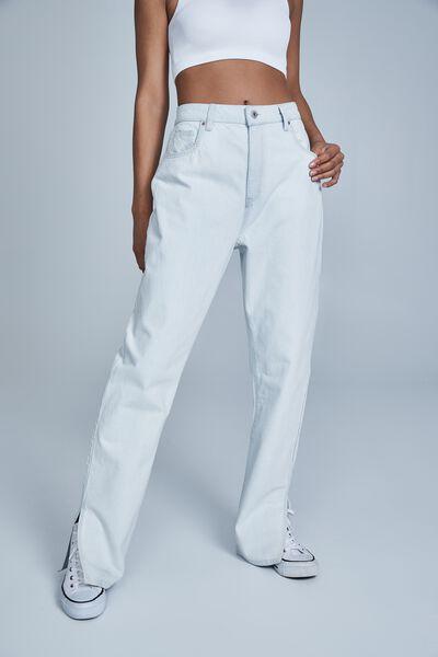 Straight Split Jean, WHITEWASH